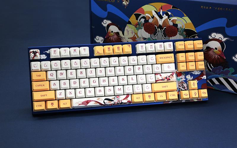 阿米洛鸳87键樱花粉轴静电容键盘开箱
